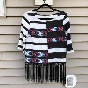 Anthropologie Floreat Fringed Latitudes Colorblock